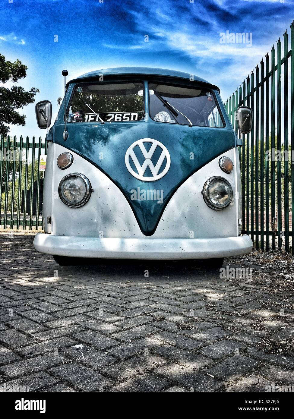Retro Volkswagon Camper Van Front Angle View Seen Parked Next To Metal Railings Uk Stock Photo Alamy