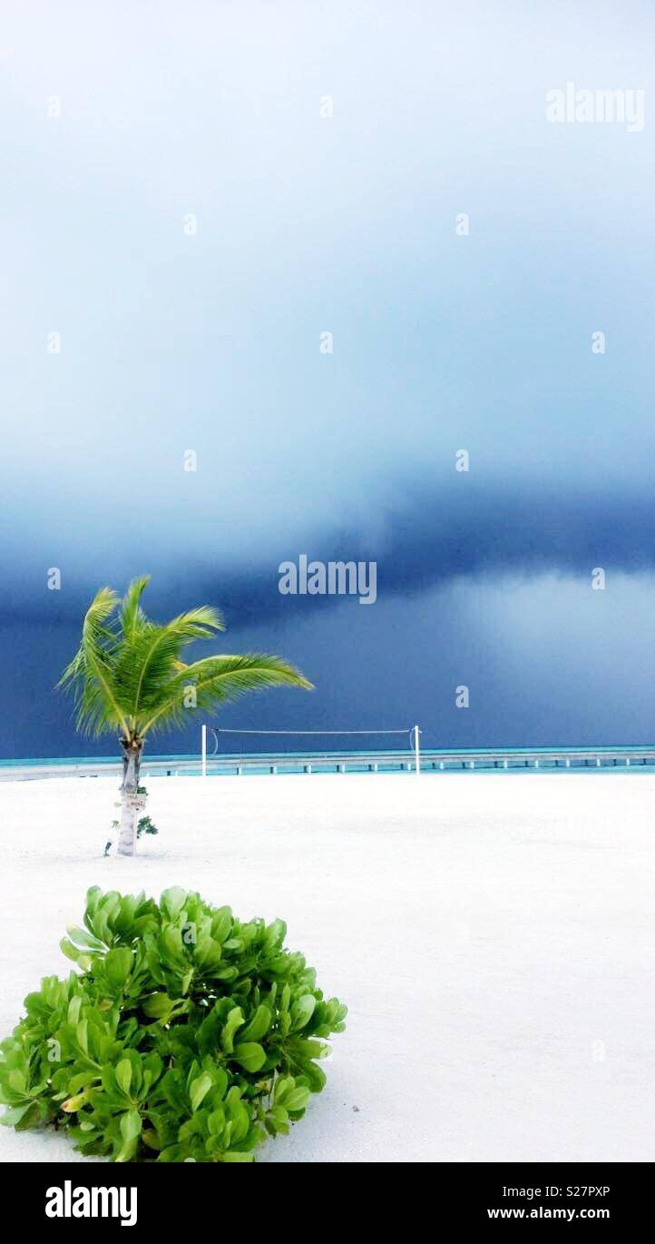 Storm brewing on the beach in paradise - Stock Image