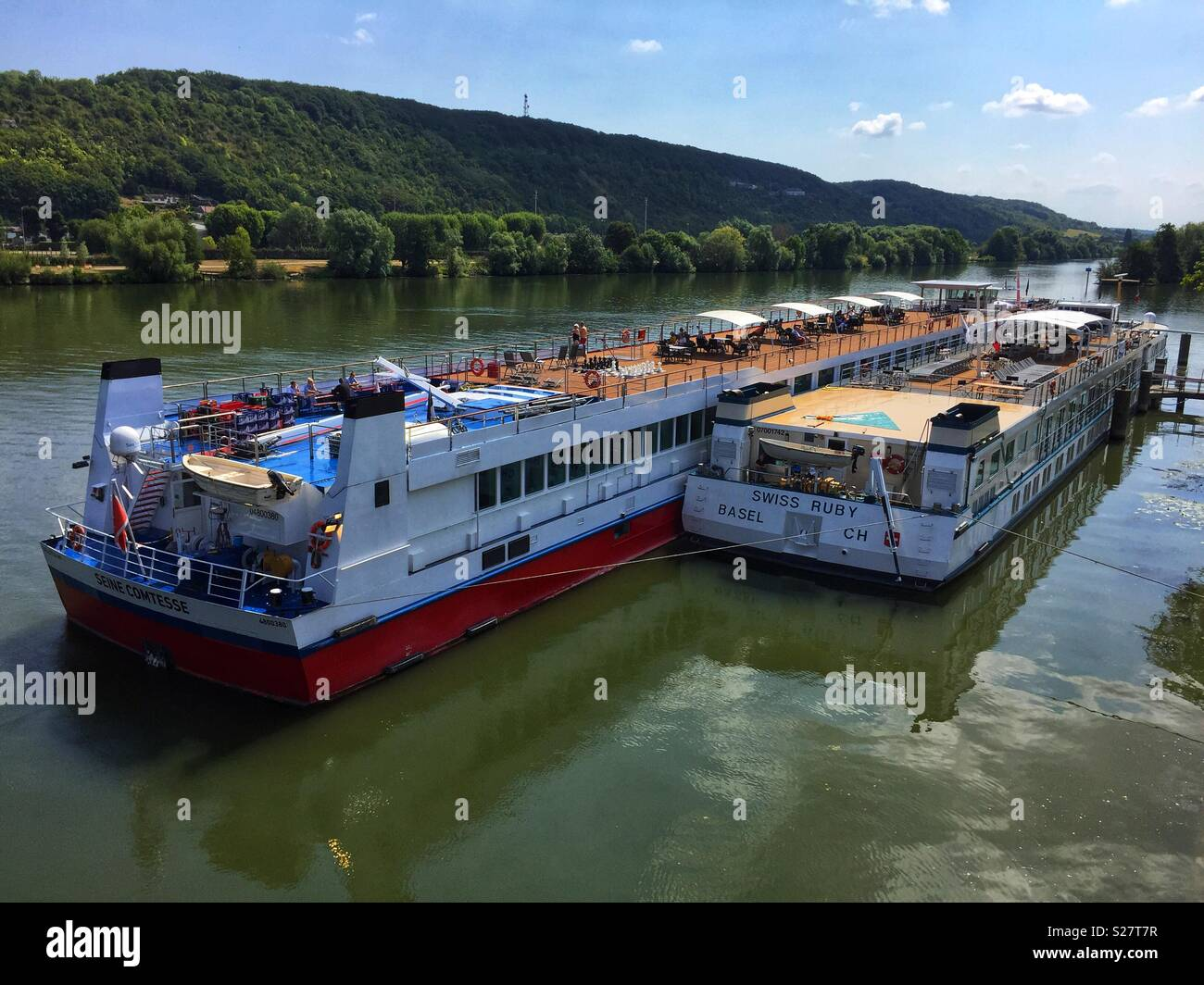 River cruisers on the River Seine at Vernon, Normandy, France - Stock Image