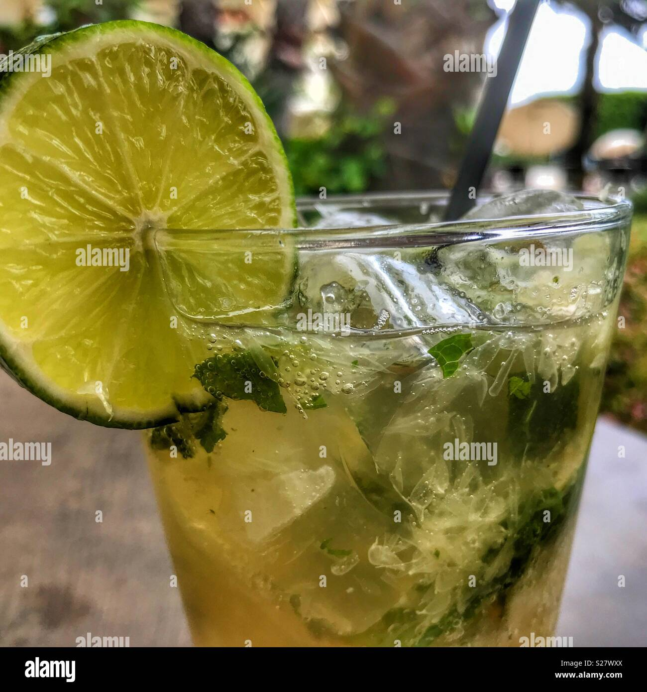 Cocktail, gin mojito,  with fresh lime, crushed mint and soda water on the rocks - Stock Image