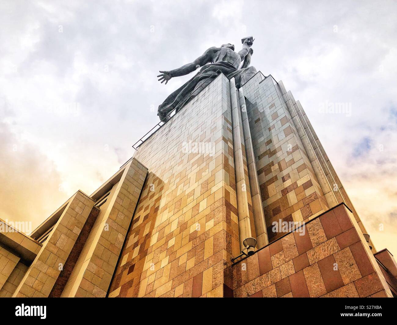 Worker and kolkhoz woman statue near VDNH exhibit in Moscow - Stock Image