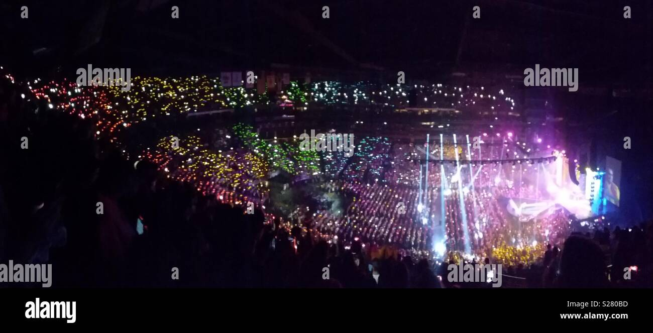 panic at the disco rainbow pride lights on stage and crowd during concert S280BD