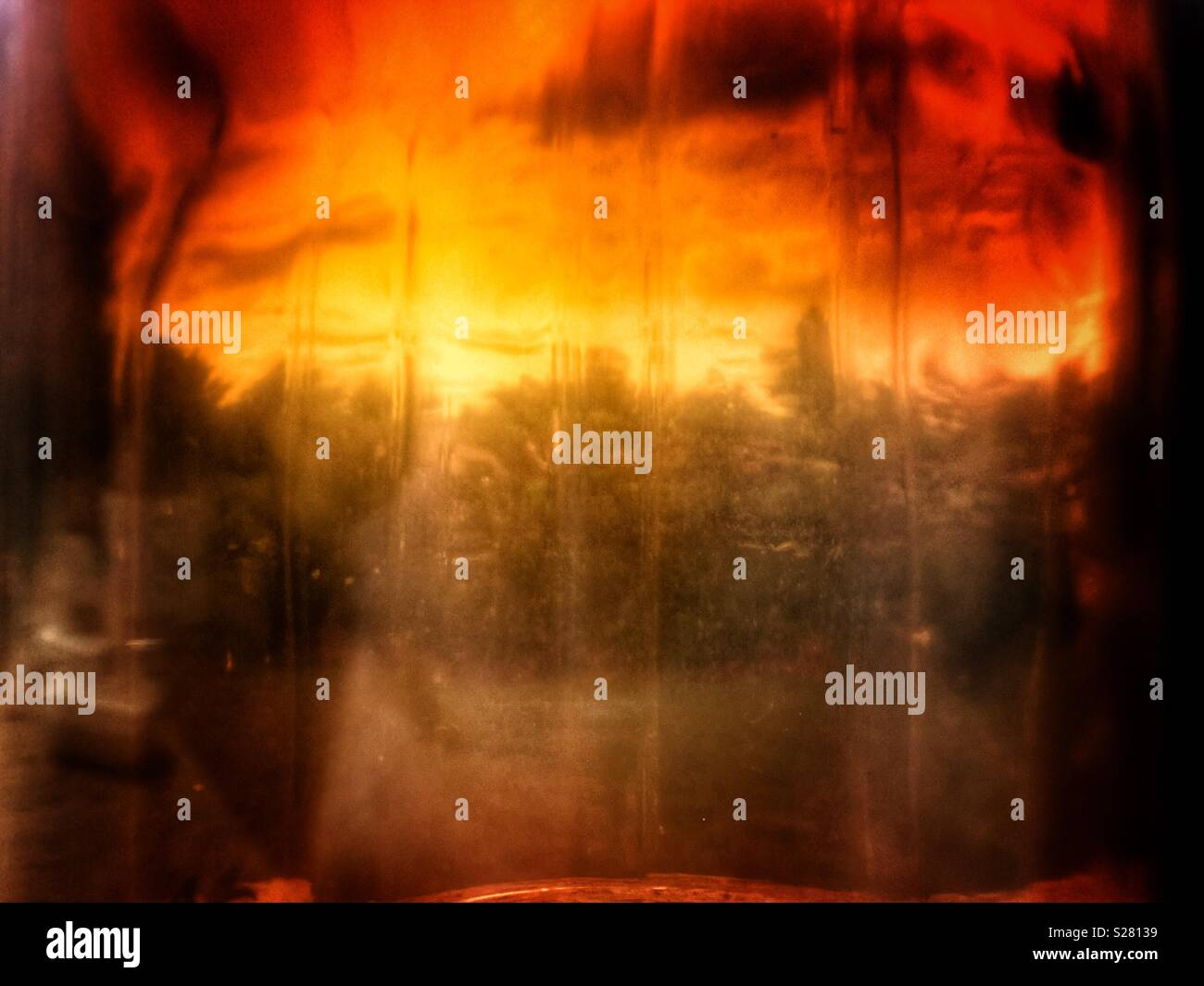 Apocalypse or view of trees through vintage brown bottle - Stock Image