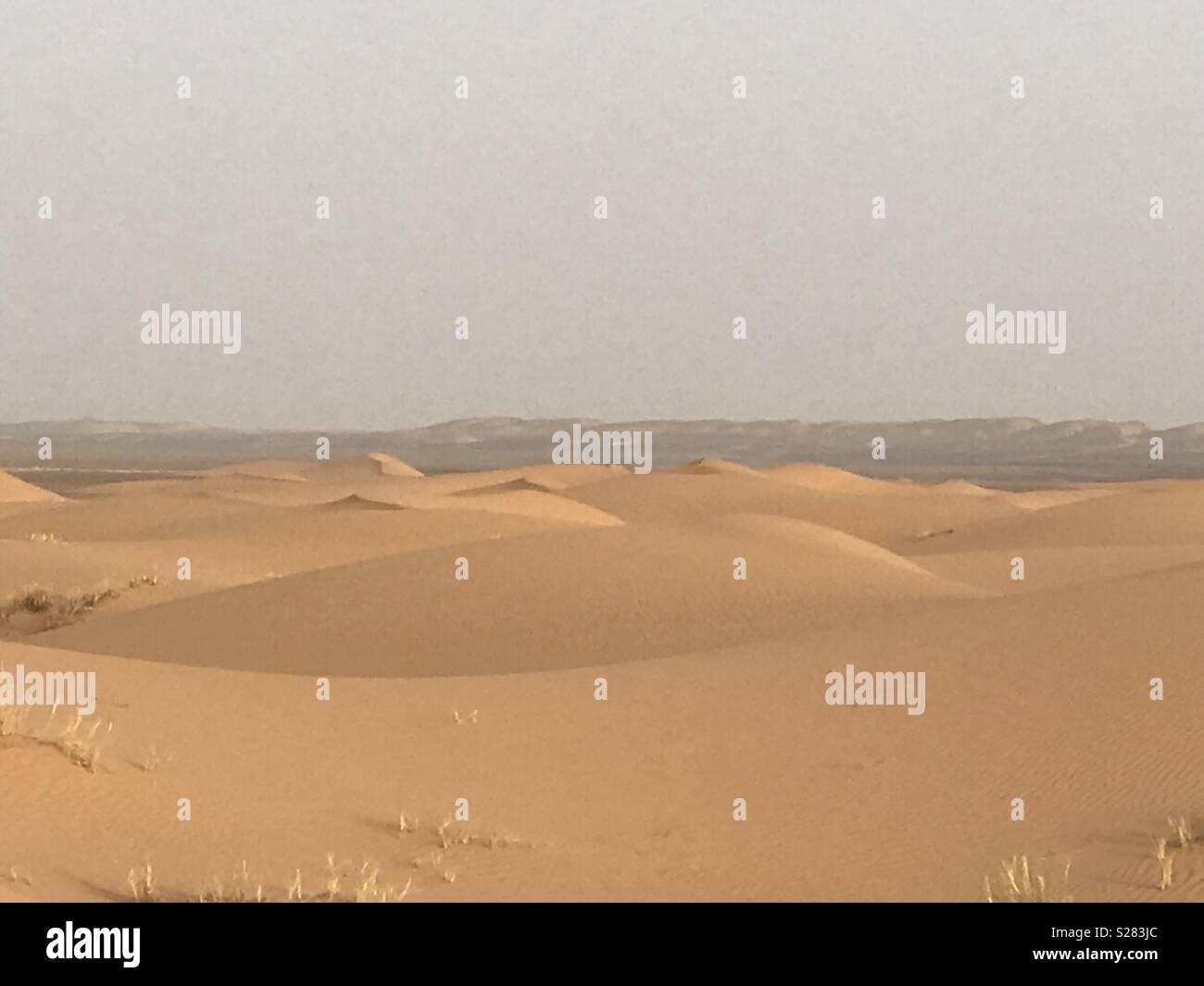 Sea of sand dunes Erg Chebbi Sahara Desert Stock Photo