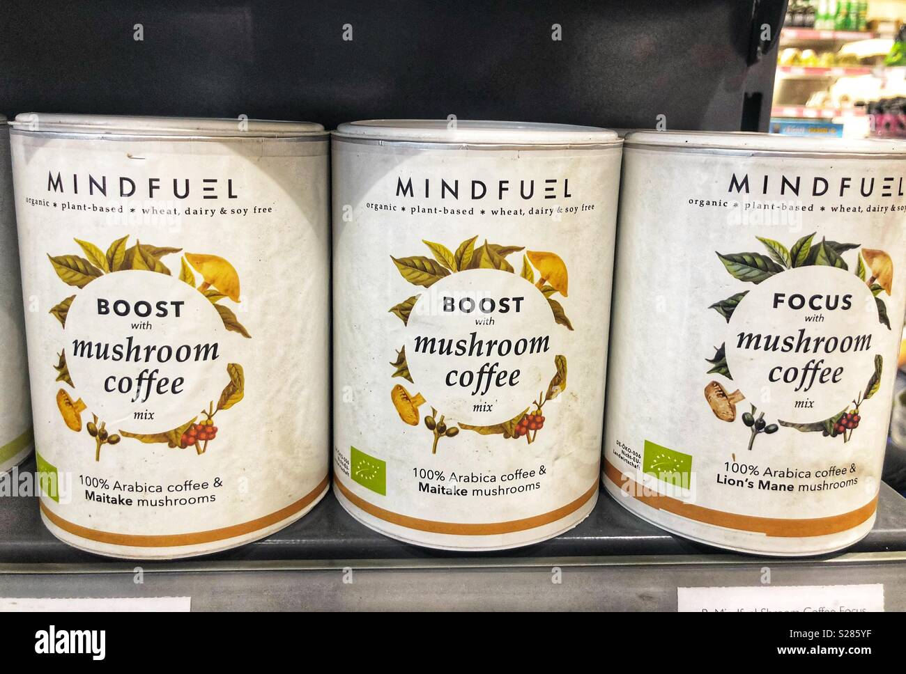 Mindfuel boost with mushroom coffee Stock Photo