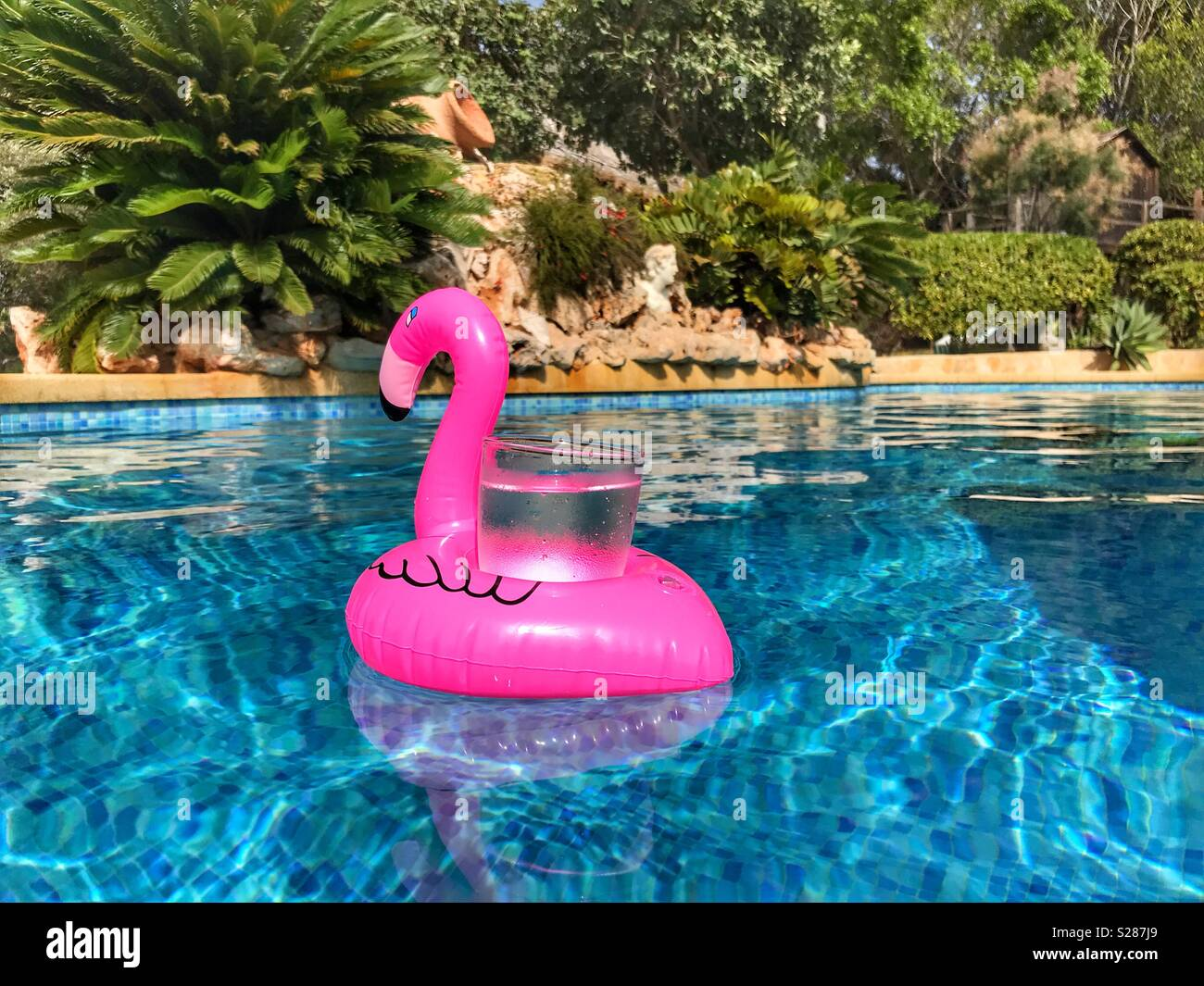 Pink Flamingo Drinks Holder Floating In A Swimming Pool With A Glass