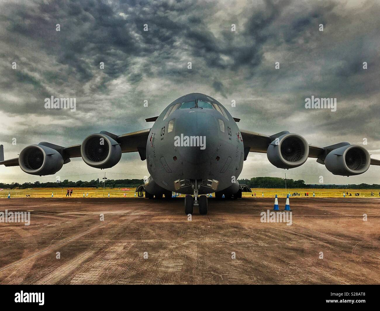 Boeing C-17A Globemaster heavy lift transport aircraft in Hungarian Air Force markings - Stock Image
