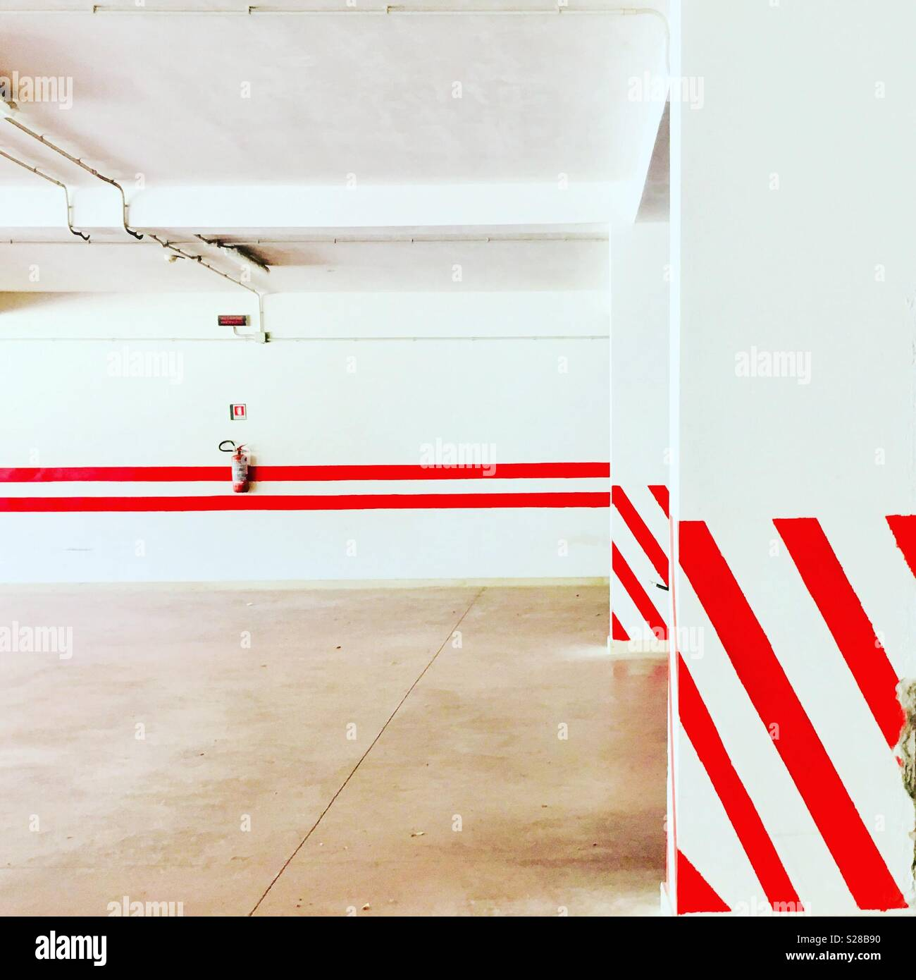 Garage with red stripes - Abstract - geometric - Stock Image
