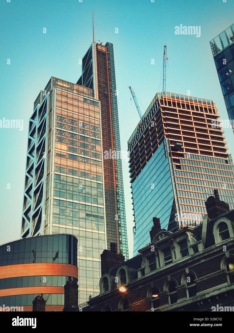 Buildings in the Square Mile, City of London from Liverpool Street Station - Stock Image
