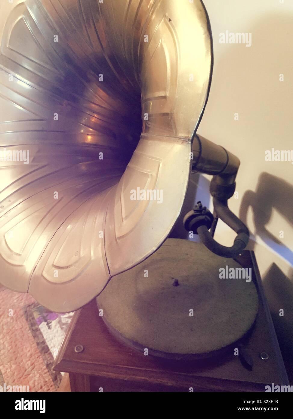 Still life of vintage old gramophone, USA - Stock Image