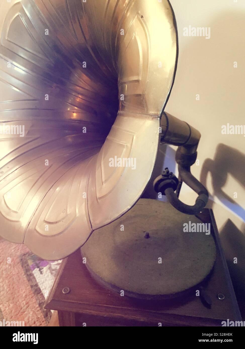 Close up of vintage  gramophone,USA - Stock Image