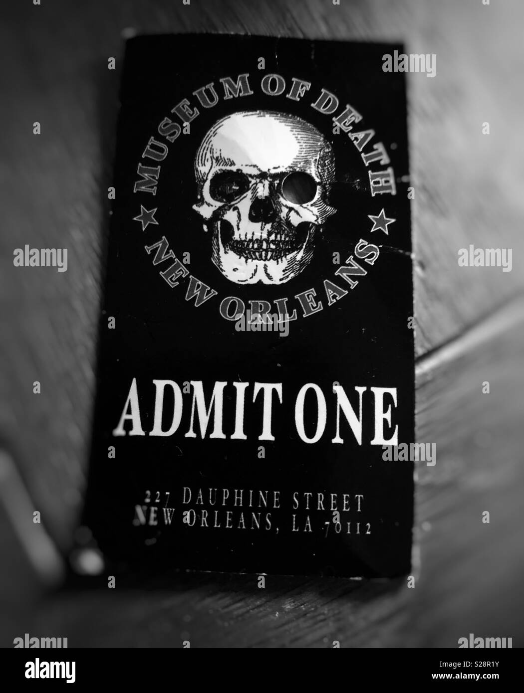A Museum of Death ticket stub from New Orleans, Louisiana, USA - Stock Image