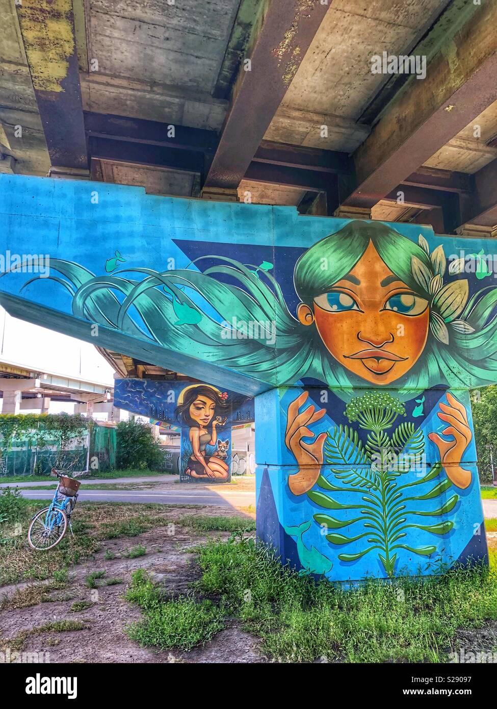 Nature-inspired street art. - Stock Image
