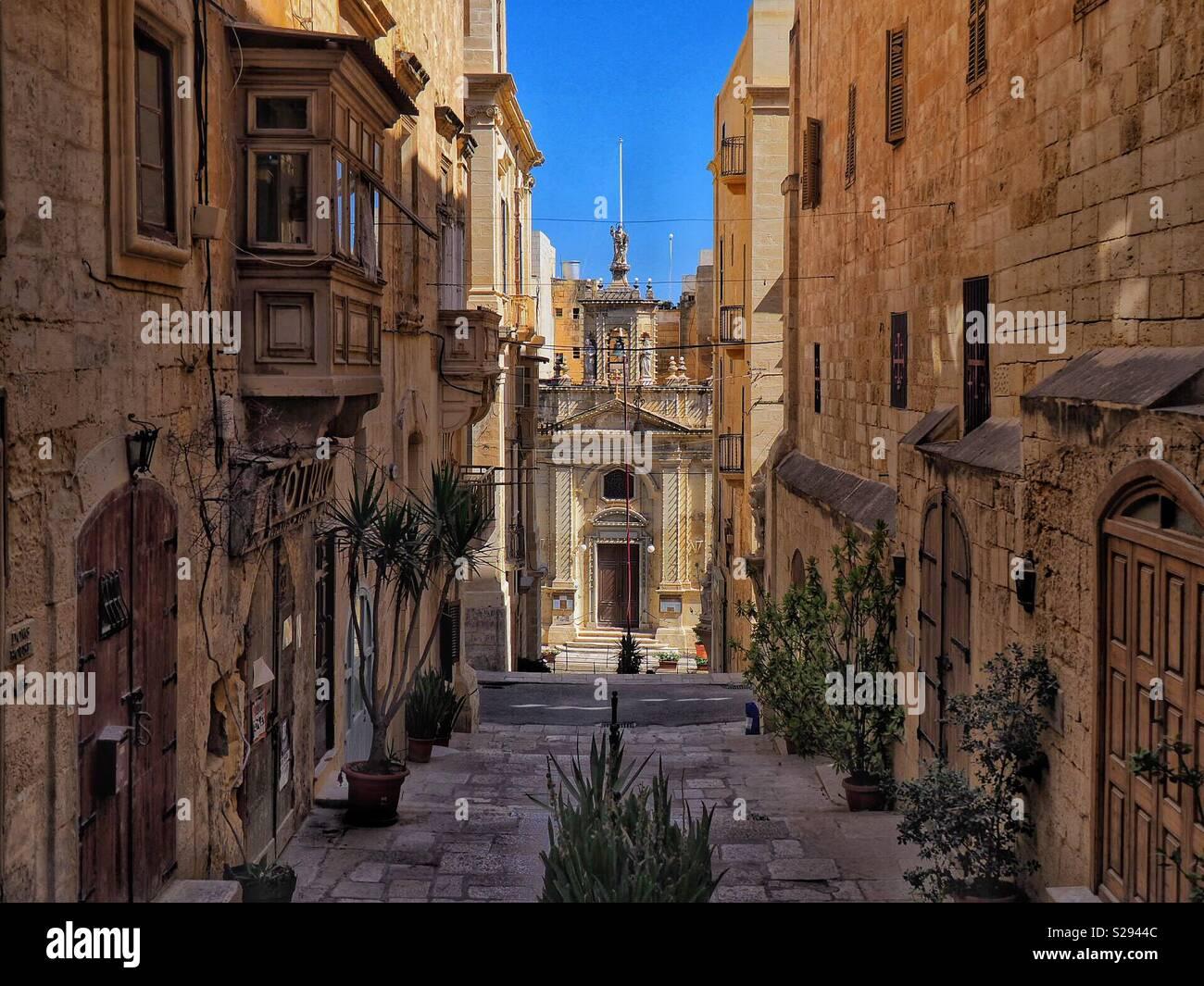 Quiet street of Valletta Old Town in Malta - Stock Image