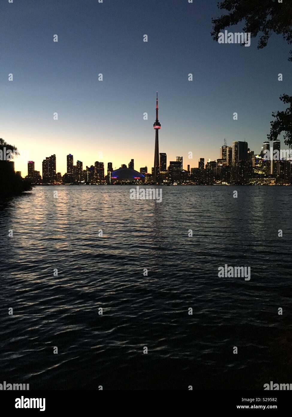 Toronto at dusk from Toronto island - Stock Image