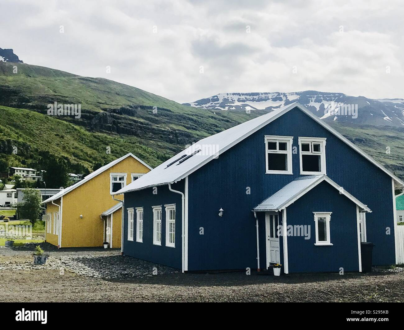 Houses in the town of Seydisfjordur, Iceland - Stock Image