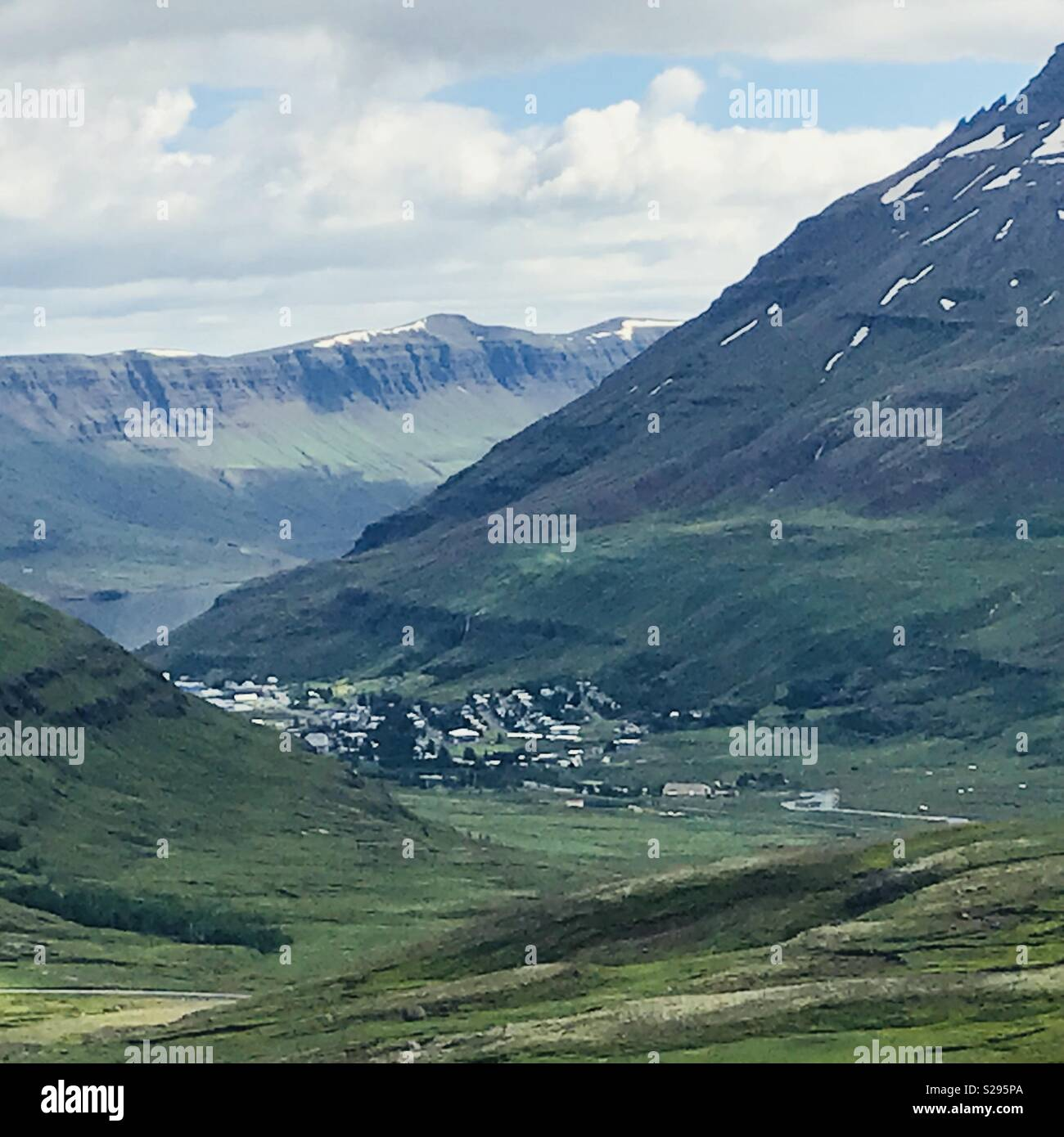 A view of the town of Seydisfjordur, Iceland - Stock Image