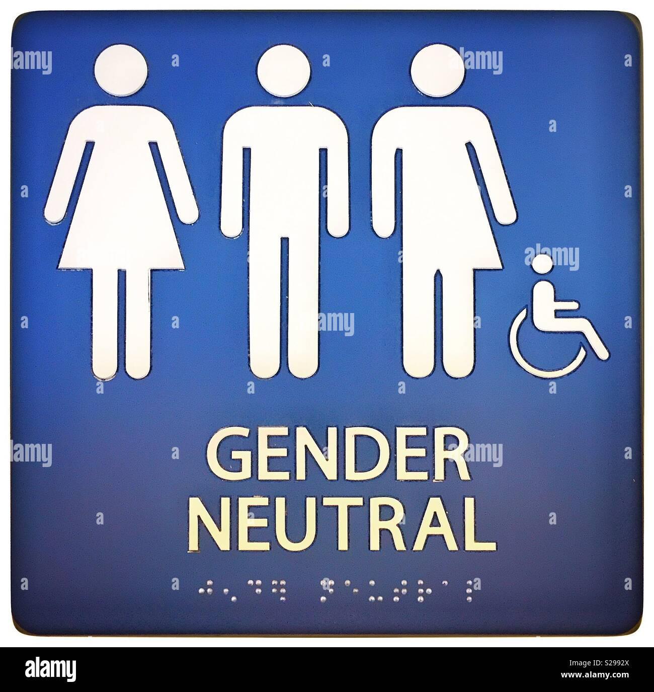 Gender Neutral Wheel Chair Accessible Braille Readable Bathroom Sign