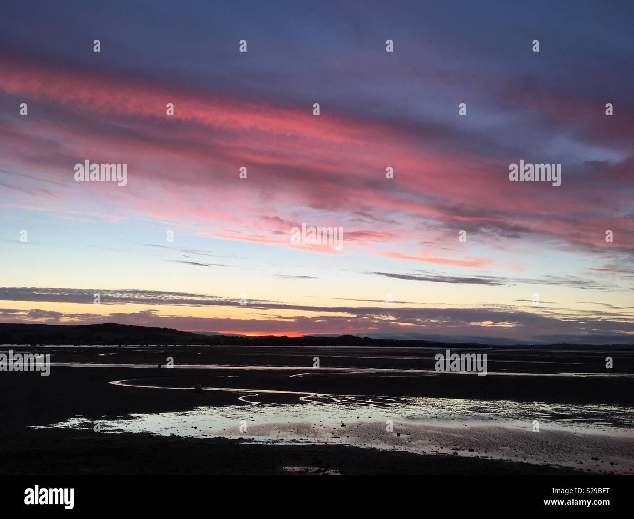 Exe Estuary at sunset - Stock Image