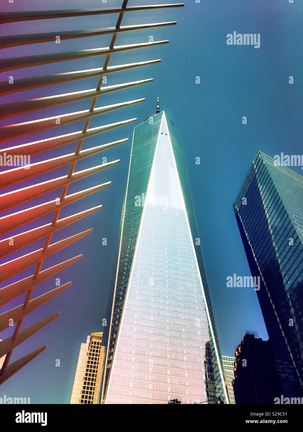 One world trade center and spines of the oculus, NYC, USA - Stock Image