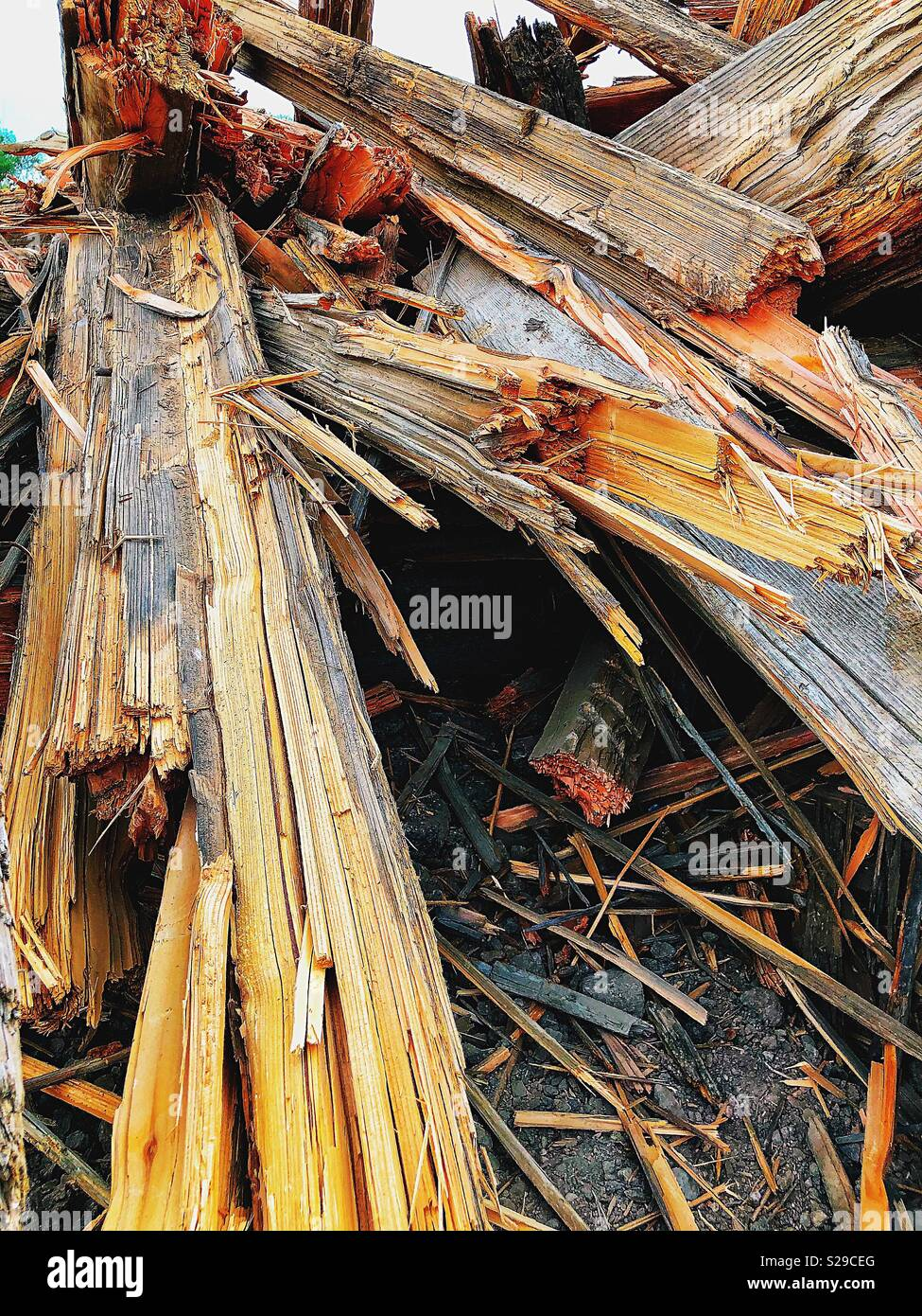 Piled broken wooden timbers - Stock Image