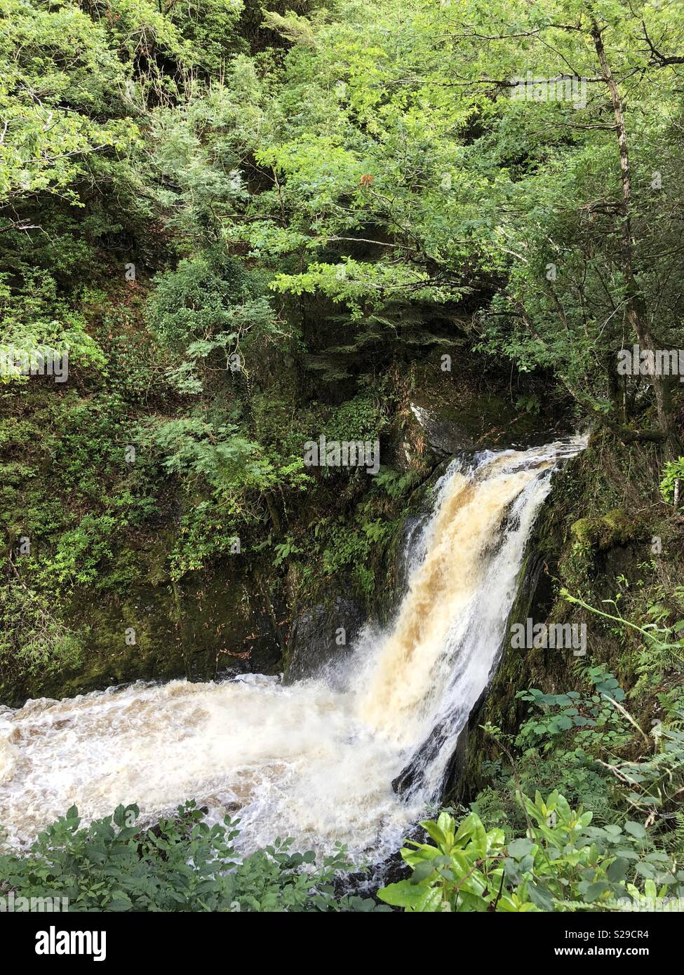 Waterfall near devils bridge - Stock Image