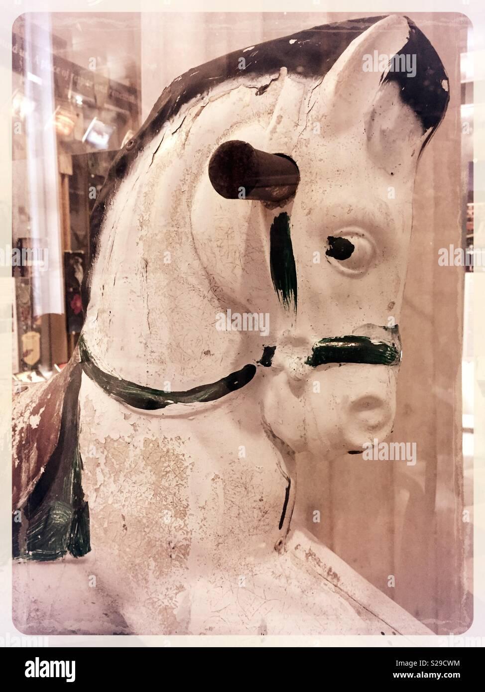 Vintage wooden rocking horse, USA - Stock Image