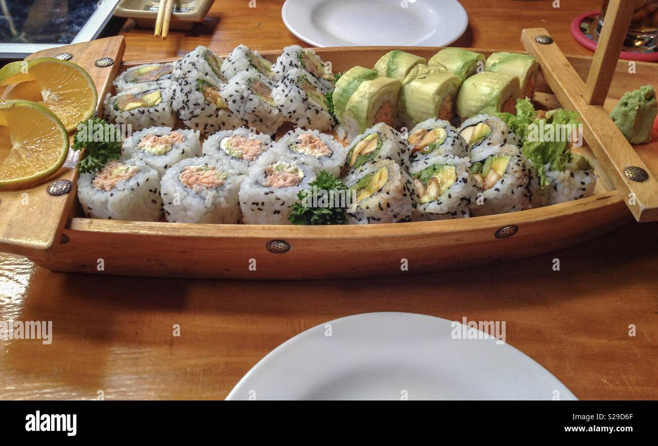Sushi Boat Stock Photo Alamy It's no wonder the average belgian family only goes to a restaurant once a month. https www alamy com sushi boat image311223879 html