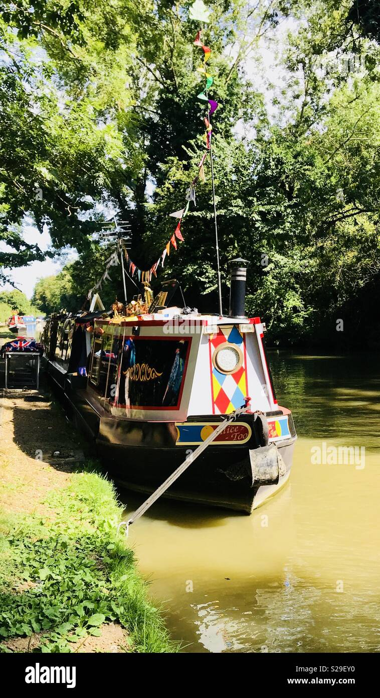 Beautiful narrowboat moored up on the towpath of the Grand Union canal near Stoke Bruerne, Northamptonshire, U.K. - Stock Image