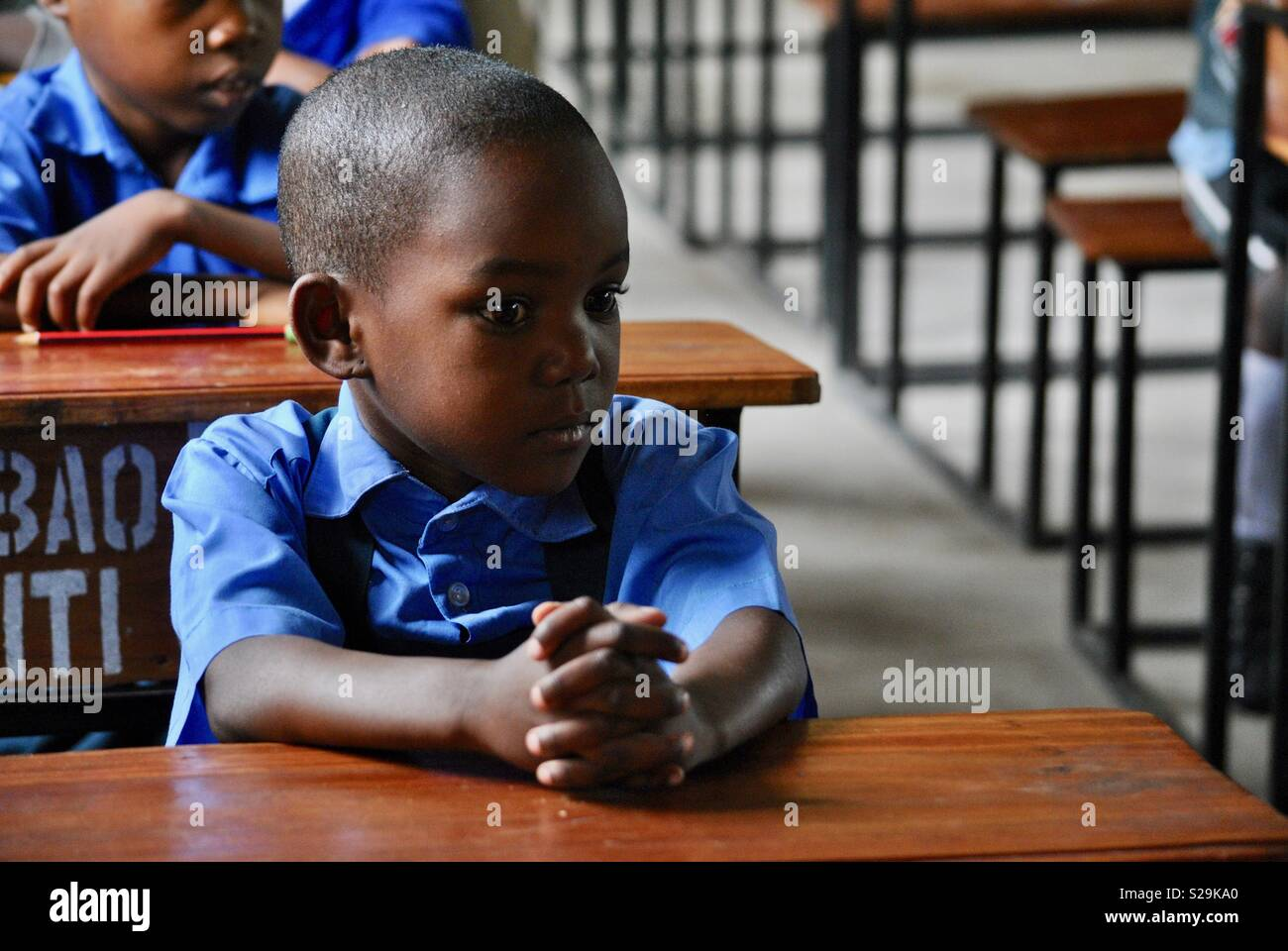 Tanzanian boys at School funded by charities based in the UK - Stock Image