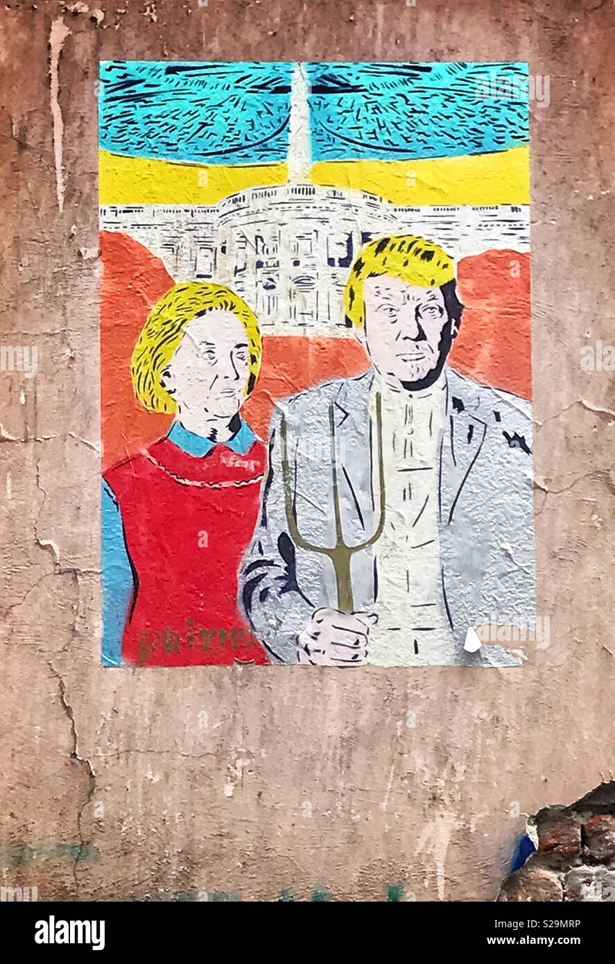Spoof Poster Art Depicting Hillary Clinton And Donald Trump As The Couple In Iconic Painting