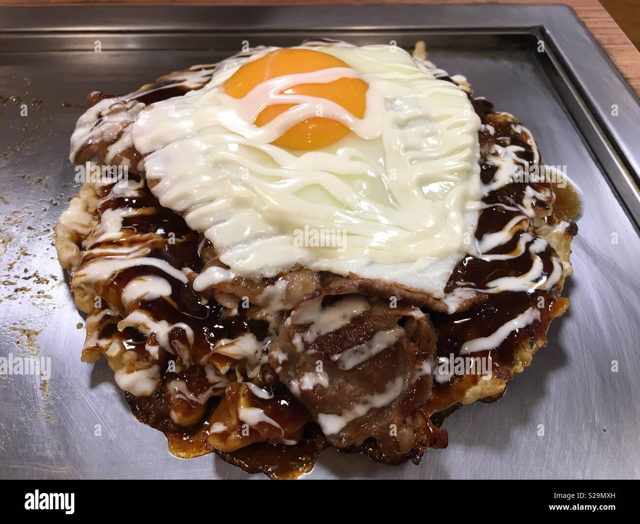 Okonomiyaki (Japanese food) Stock Photo