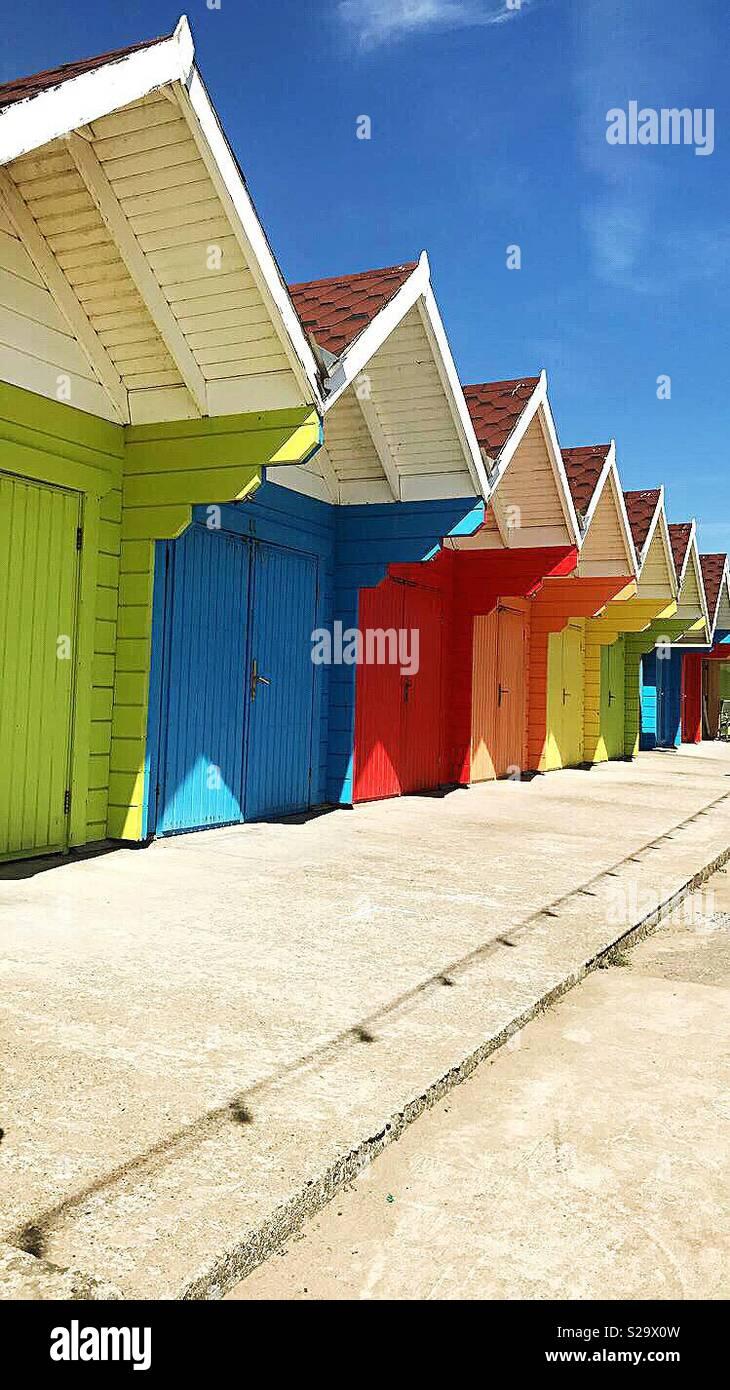 Colourful beach huts. Stock Photo