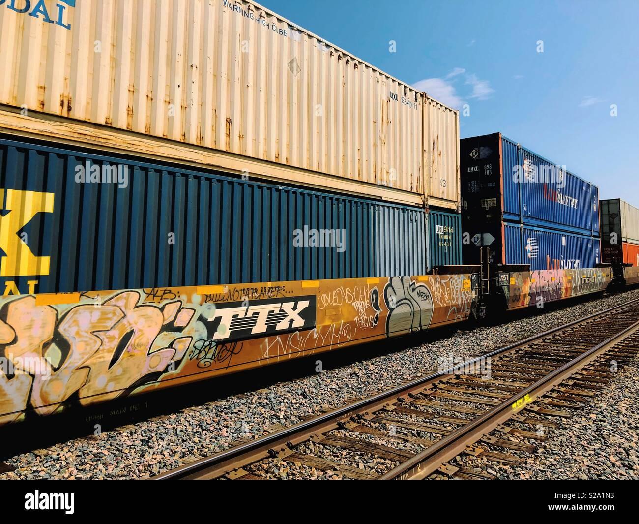 Freight Train Cars With Graffiti Stock Photo 311236831 Alamy