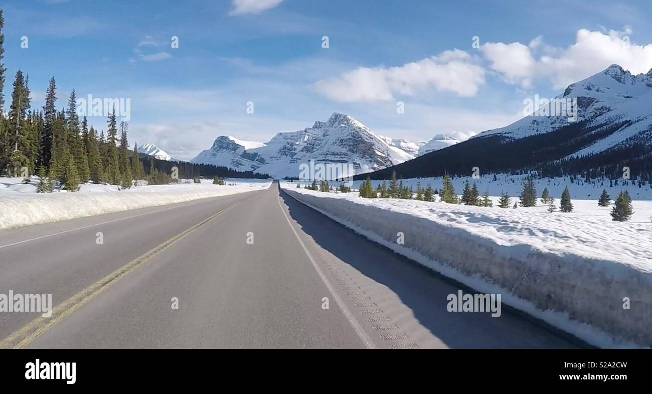 Scenic Canadian Highway to Jasper, Canada - Stock Image