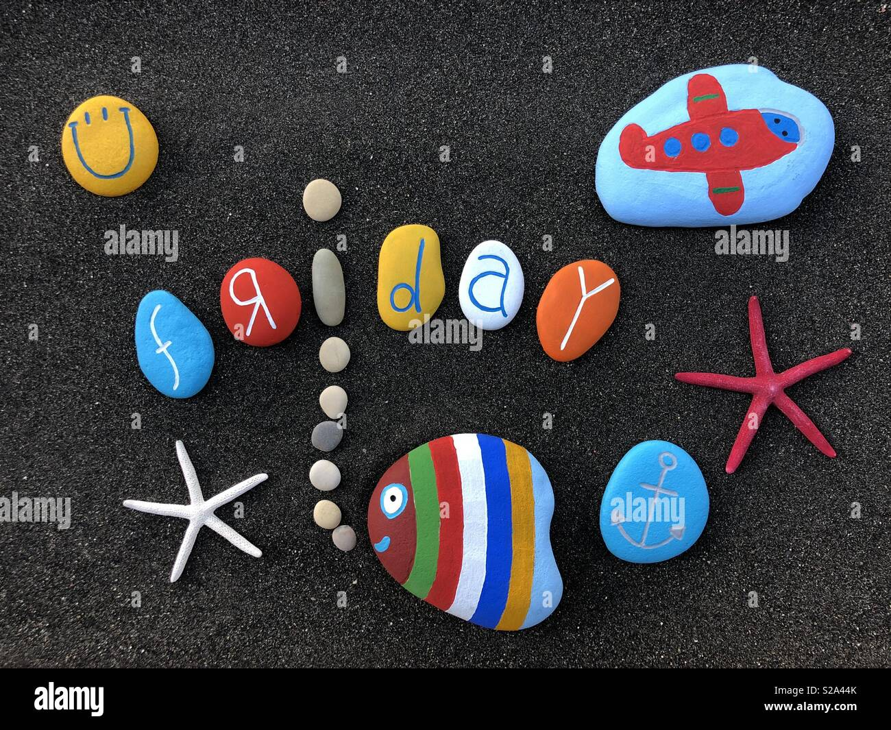 Friday with funny stones design - Stock Image