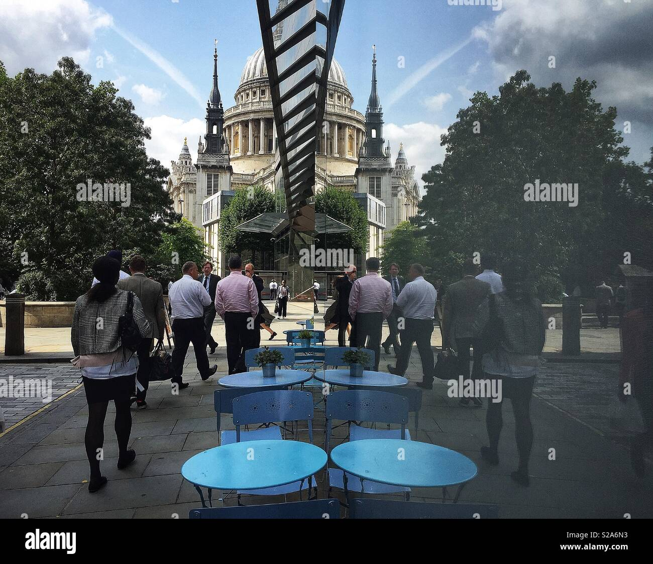 People walking past One New Change towards St Paul's Cathedral, London. UK 2018 - Stock Image