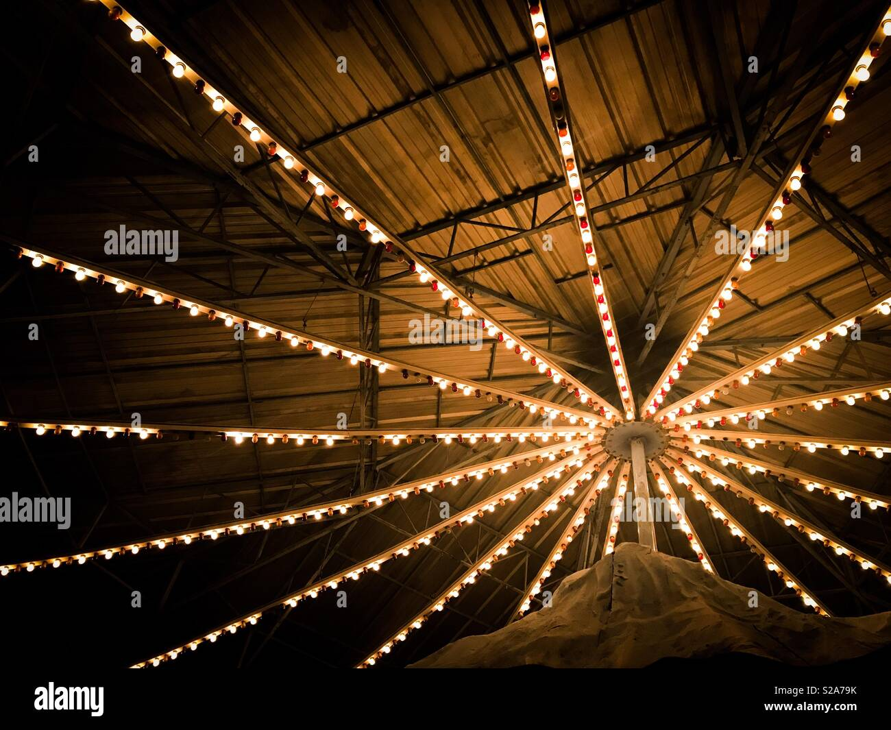 Lit ceiling at carnival - Stock Image