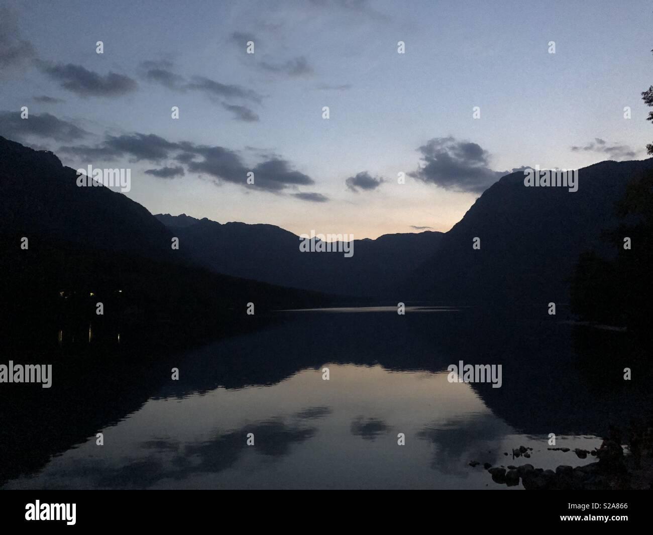 Lake by night - Stock Image