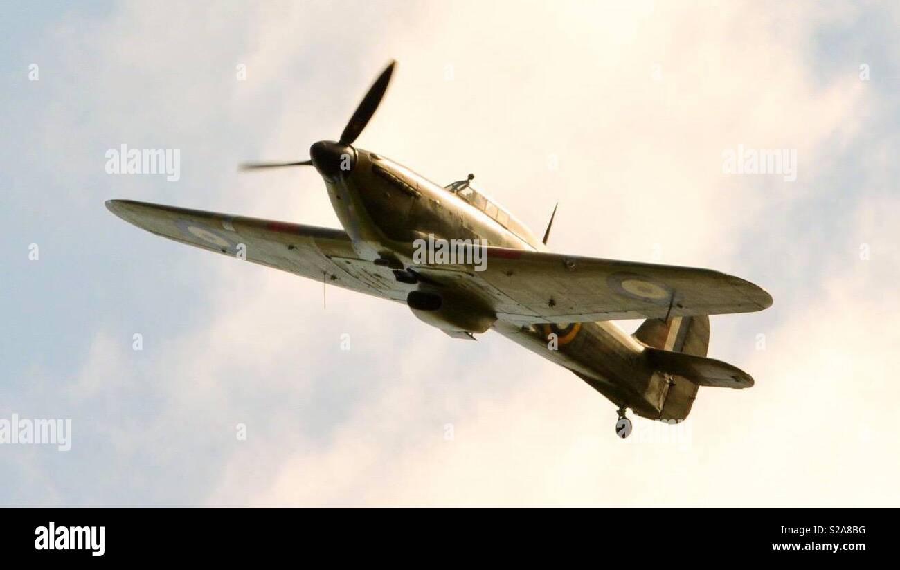 RAF Hurricane completes a Flypast at Eydon Village Fete - Stock Image