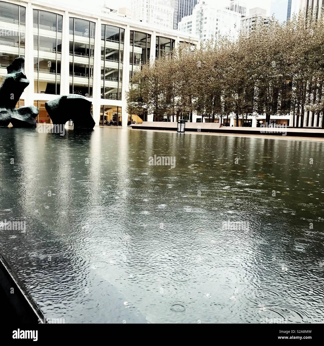 Lincoln Center in the Rain - Stock Image