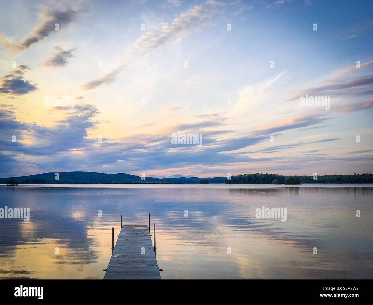 Summer evening by the lake in Dalarna, Sweden. - Stock Image