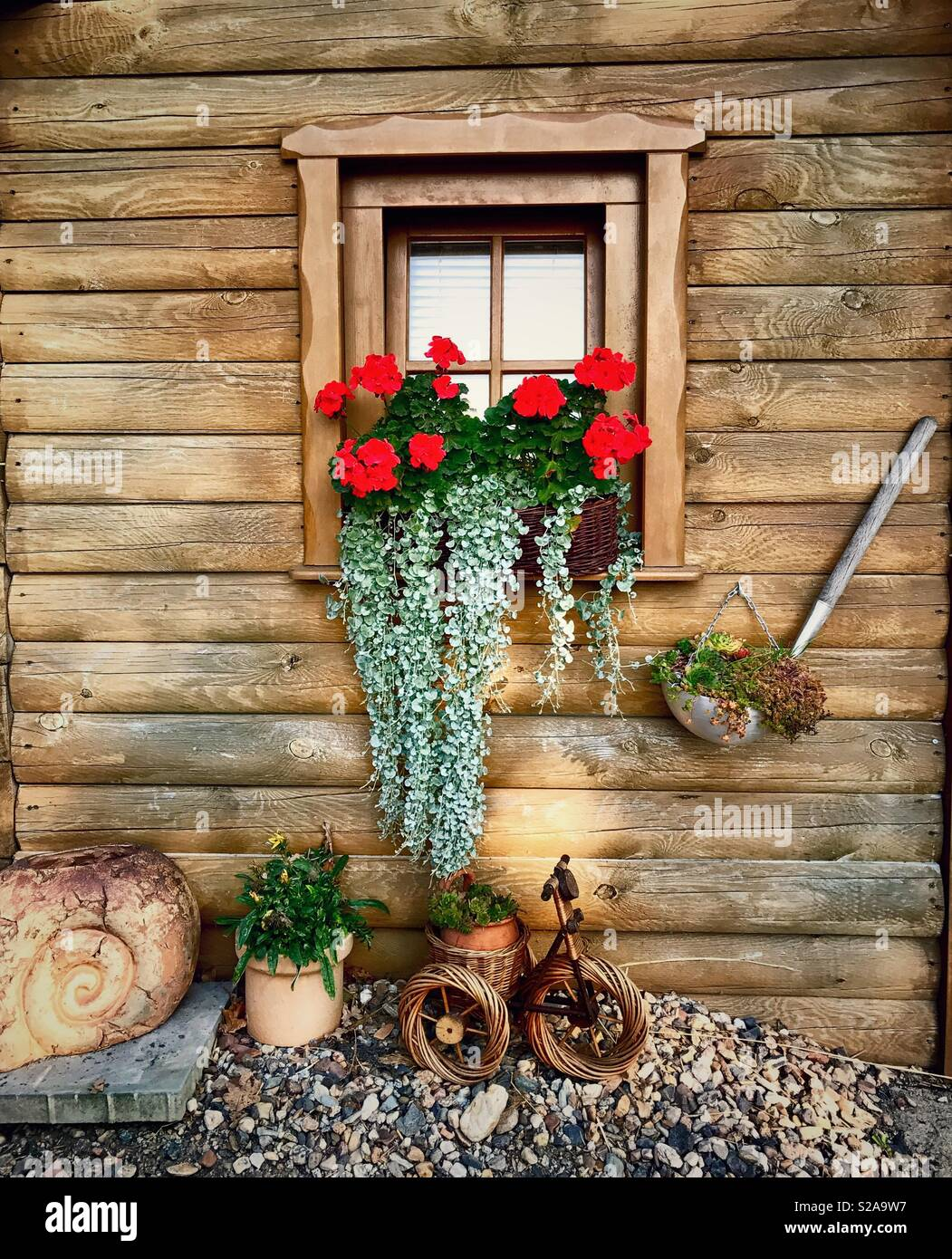 Cute Rustic Exterior Log Cabin Decor With Flower Box On A