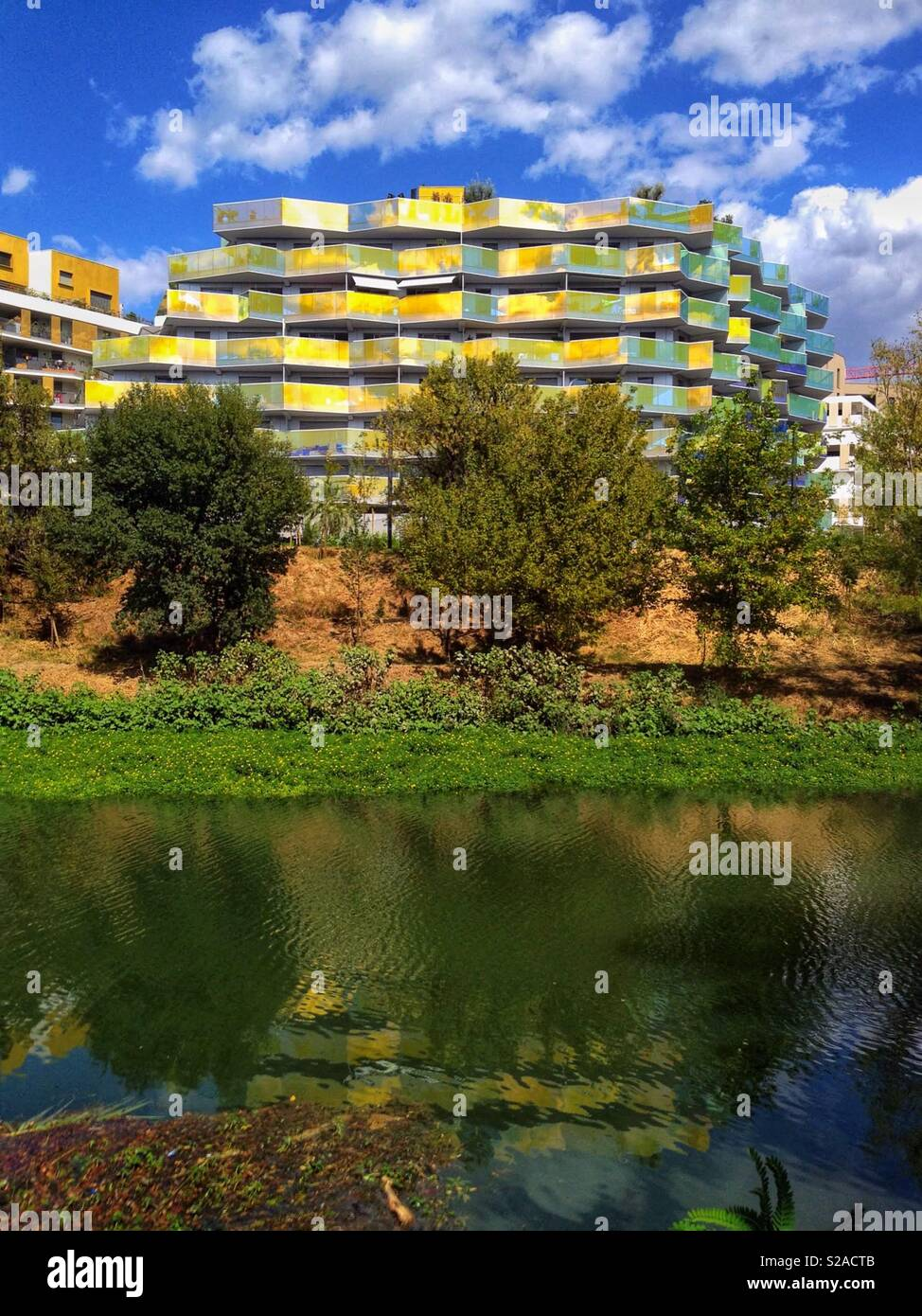 The Koh-I-Noor Building on the bank of the river Lez, Port Marianne, Montpellier France - Stock Image