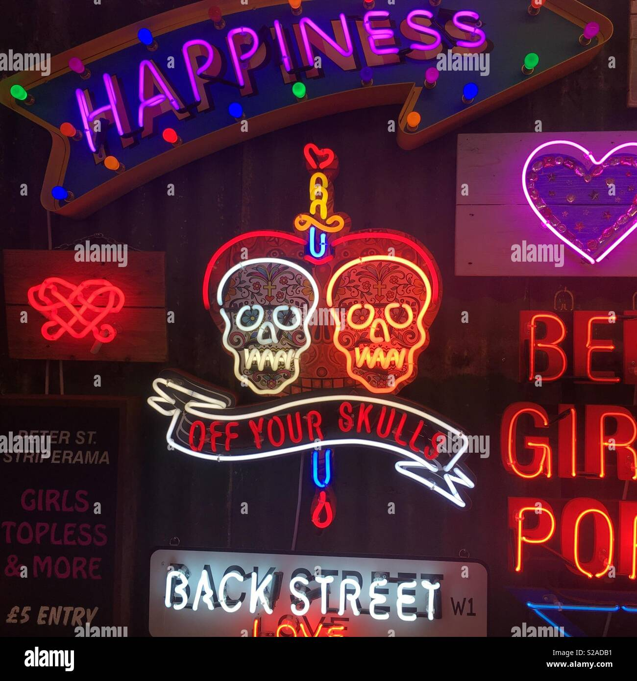 Neon signs off your skulls. - Stock Image