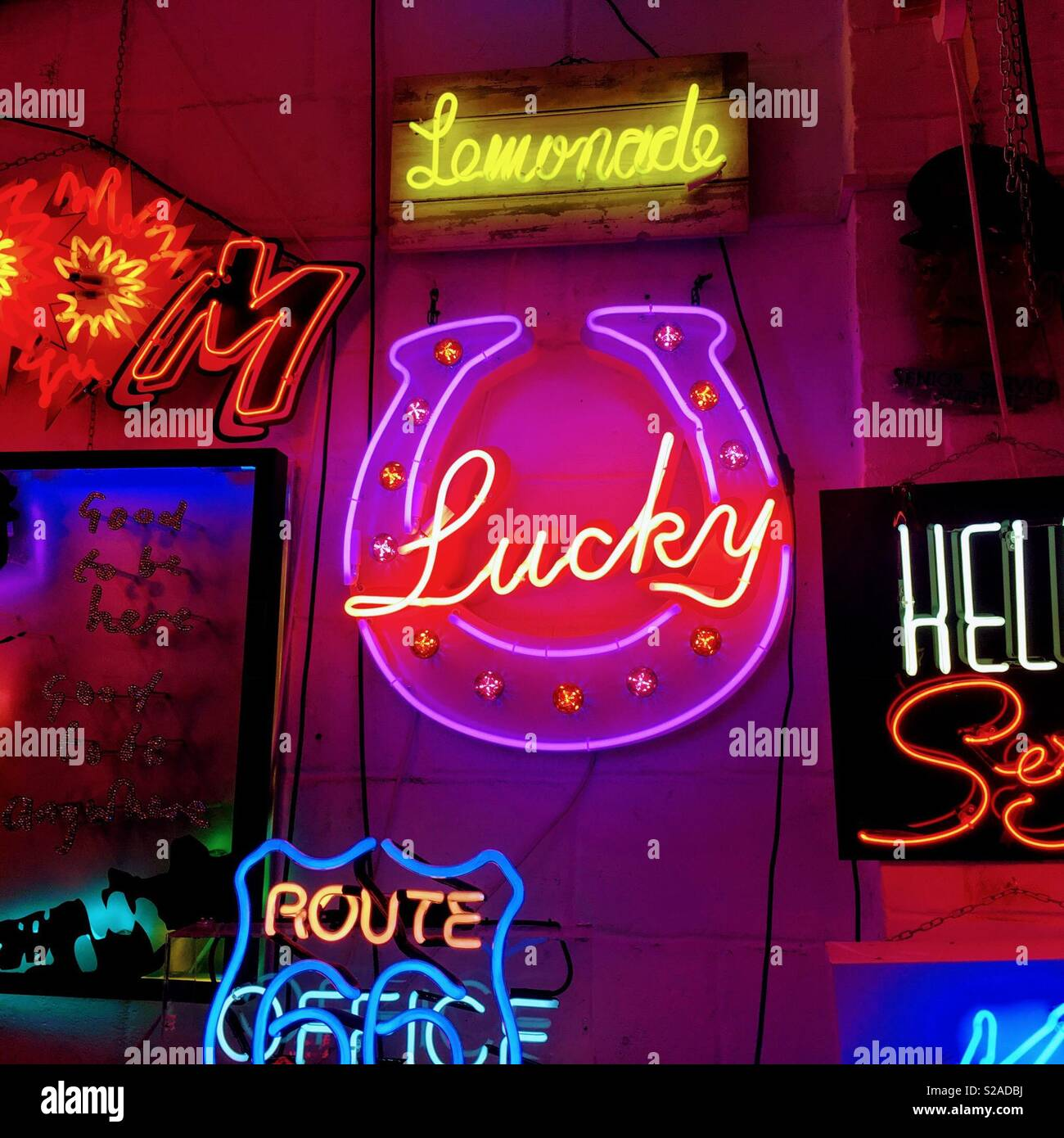 Lucky neon sign. - Stock Image