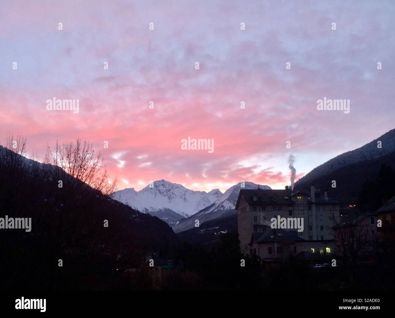 Red sky over the Alps Stock Photo