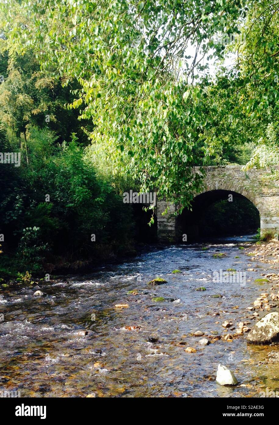 Sunlight shimmering on an enchanting, rocky river as it flows under an old stone bridge surrounded by trees.  Taken in Ireland - Stock Image