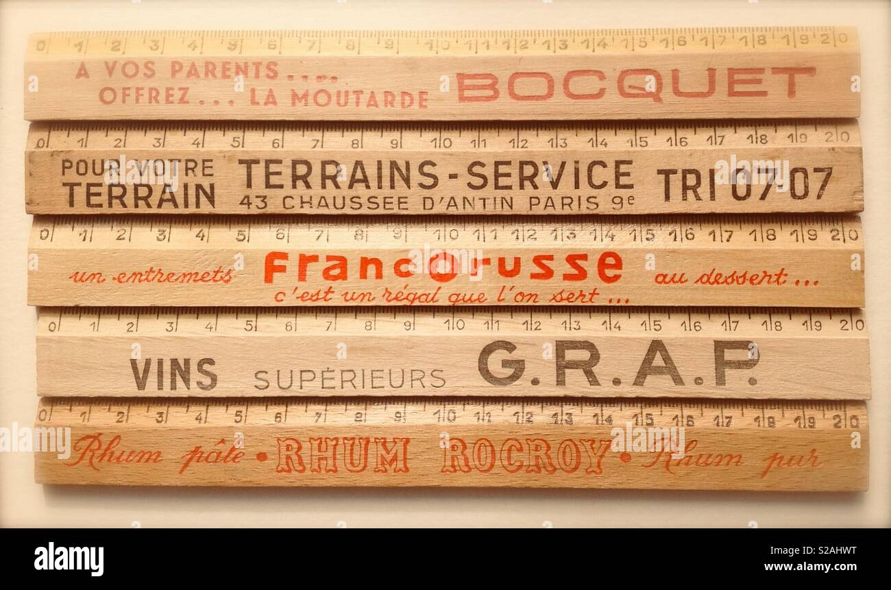 A collection of French promotional rulers - Stock Image