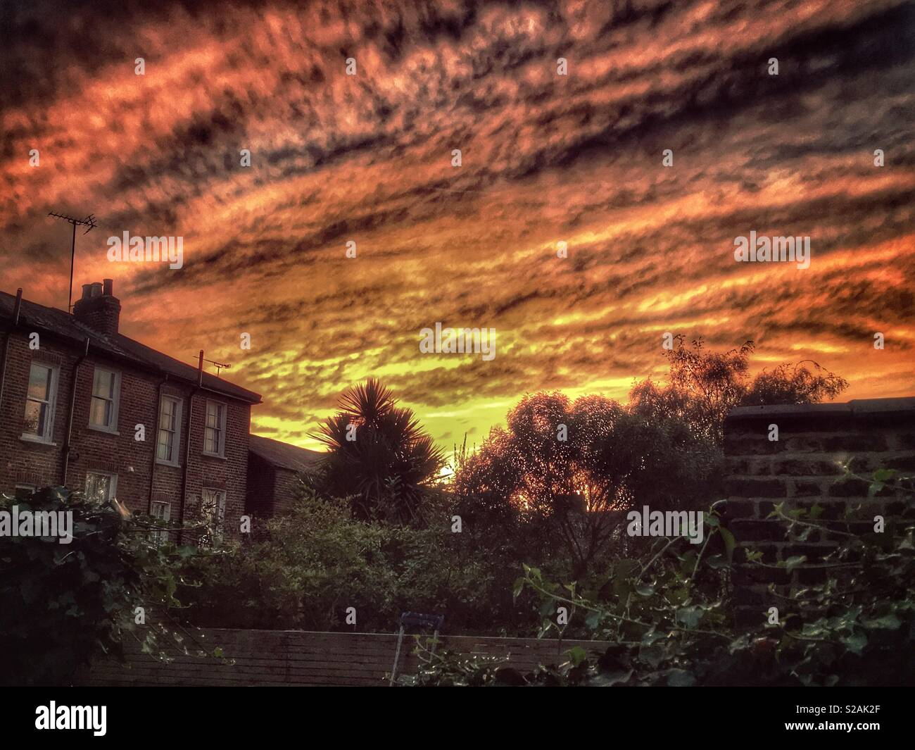 Sunset over East Finchley, North London. - Stock Image